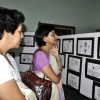 Visitors at Nituparna's exhibition at Cotton College, Guwahati, Assam